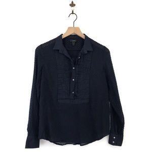 J.Crew Swiss Dot Tuxedo Shirt 2 Navy Blue Pleated